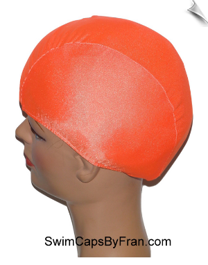 Kids Neon Orange Lycra Swim Cap