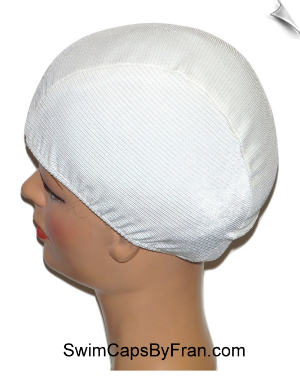 Toddler Pearl White Textured Lycra Swim Cap