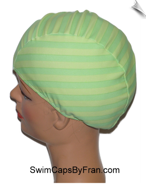 Extra Large Granny Apple Stripe Lycra Swim Cap (XL)