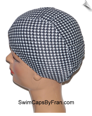 Extra Large Houndstooth Lycra Swim Cap (XL)