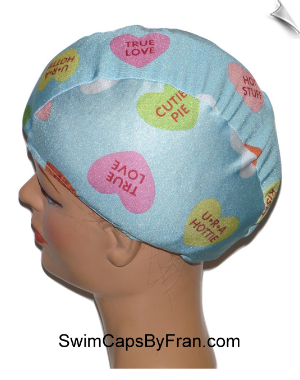 Conversation Candy Hearts Toddler Swim Cap