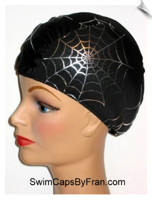 Spider Web Lycra Swim Cap