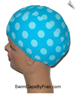 Robins Eggs Polka Dot Lycra Swim Cap