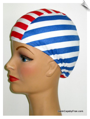 Red, White & Blue Striped Lycra Swim Cap