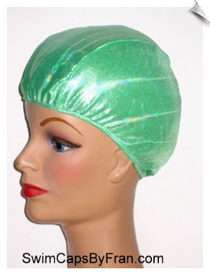 Iridescent Lime Lycra Swim Cap