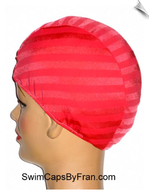 Iridescent Striped Lycra Swim Cap
