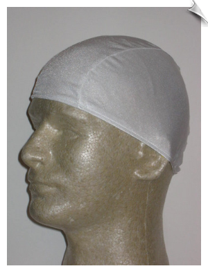 Mens White Lycra Swim Cap