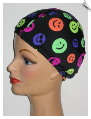 Extra Large Neon Smileys  Lycra Swim Cap (XL)