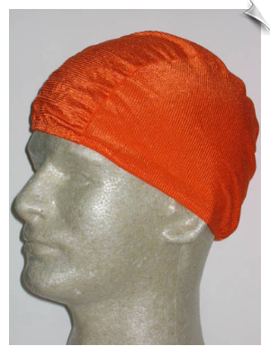 Extra Large Neon Orange Ribbed Lycra Swim Cap (XL)