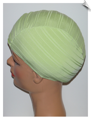Celery Green Ribbed Lycra Swim Cap