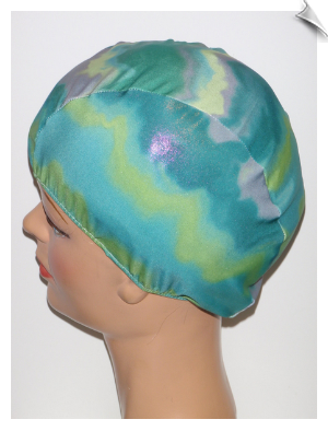 Wet Look Tie Dye Lycra Swim Cap