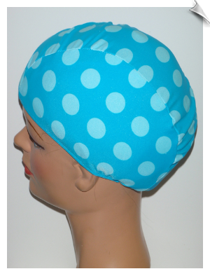 Toddler Robins Eggs Polka Dot Lycra Swim Cap