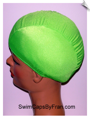 Kids Neon Green Lycra Swim Cap