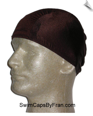 Mens Chocolate  Brown Lycra Swim Cap