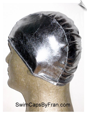 Shiny Metallic Silver Lycra Swim Cap
