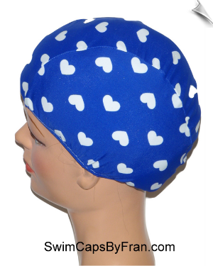 Extra Large Hearts On Blue Lycra Swim Cap (XL)