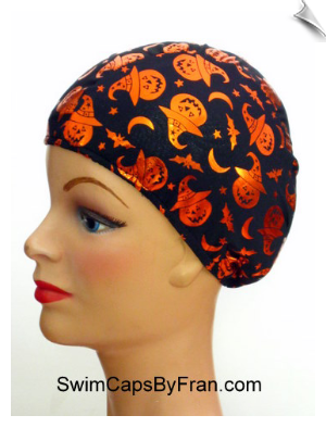 Pumpkins In The Night Kids Lycra Swim Cap