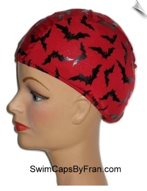 Bat Frenzy Kids Lycra Swim Cap