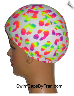 "Extra Large ""Little Dab Of Neon"" Lycra Swim Cap (XL)"