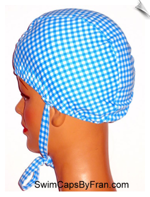 Gingham Check Lycra Swim Cap With Ties