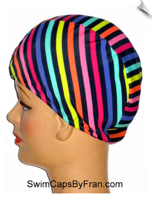Toddler Multi Color Stripes Lycra Swim Cap