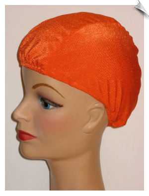 Neon Orange Ribbed Lycra Swim Cap