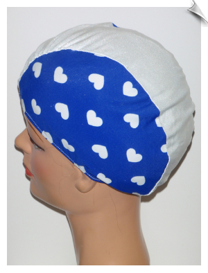 Hearts On Blue Swim Cap