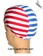 Red, White & Blue Striped Lycra Swim Cap (SKU: 1135)