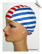 Extra Large Red White & Blue Stripe Lycra Swim Cap (XL) (SKU: 1135-XL)