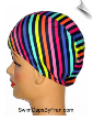 Toddler Multi Color Stripes Lycra Swim Cap (SKU: 1149-T)