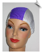 Toddler Multi Color Lycra Swim Cap - Purple & White (SKU: 1203)