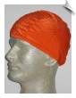 Extra Large Neon Orange Ribbed Lycra Swim Cap (XL) (SKU: 1008-XL)