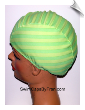 Extra Extra Large Granny Apple Stripe Lycra Swim Cap (XXL)
