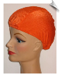 Neon Orange Ribbed Lycra Swim Cap (SKU: 1008)